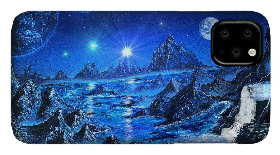 Space Art IPhone Case featuring the painting Sapphire Planet by Michael Rucker