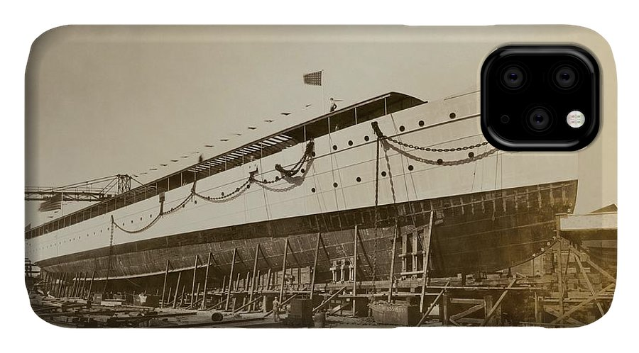Savarona IPhone 11 Case featuring the photograph Savarona Yacht In Shipyard by Hagley Museum And Archive