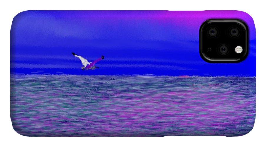 Evening.sky.clouds.sunrays.sun.sunset.sea.waves.colors.blue.pink.red.dark Blue IPhone Case featuring the digital art Sea. Last rays of sun by Dr Loifer Vladimir