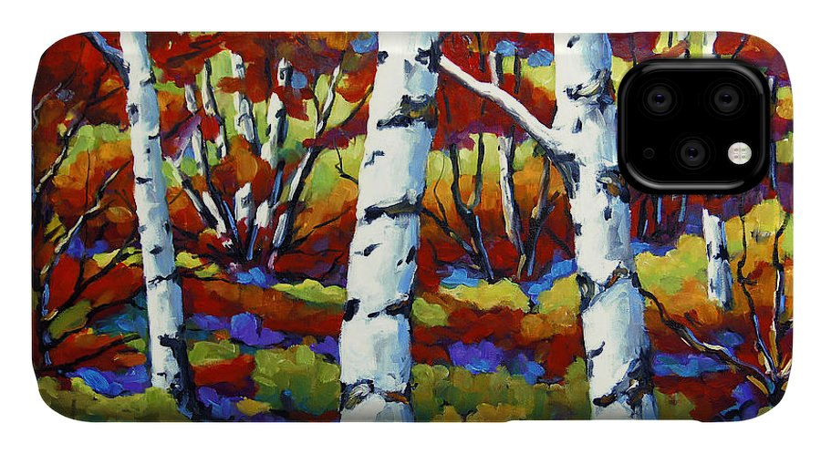 Canadian Landscape Created By Richard T Pranke IPhone 11 Case featuring the painting Season Of Fire By Prankearts by Richard T Pranke