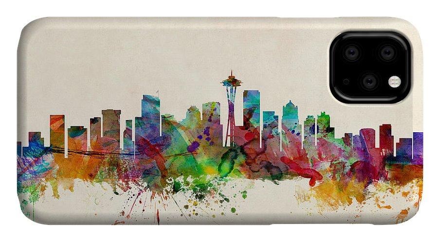 Watercolour IPhone Case featuring the digital art Seattle Washington Skyline by Michael Tompsett
