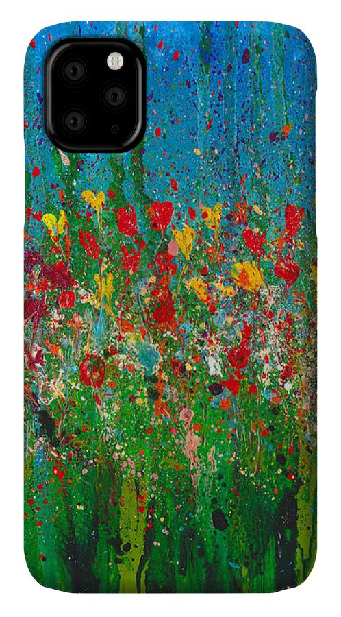 Flower IPhone 11 Case featuring the painting Secret Garden by Cindy Johnston