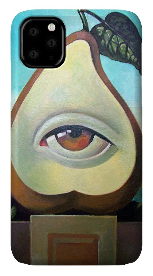 Original Oil Paintings IPhone Case featuring the painting Seeing Pear by Filip Mihail