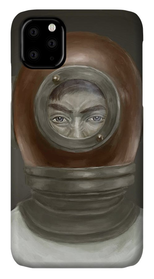 Digital IPhone Case featuring the digital art Self Portrait by Balazs Solti