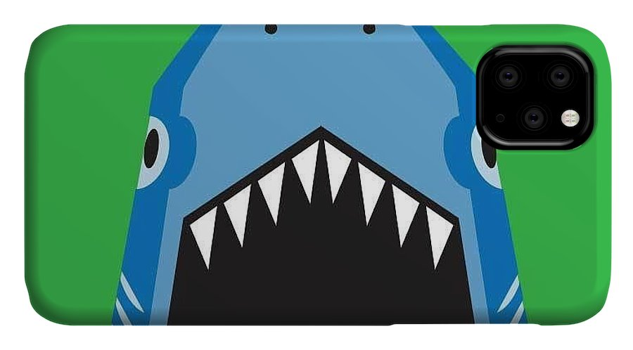 Big IPhone 11 Case featuring the digital art Shark Illustration, T-shirt Graphics by Syquallo