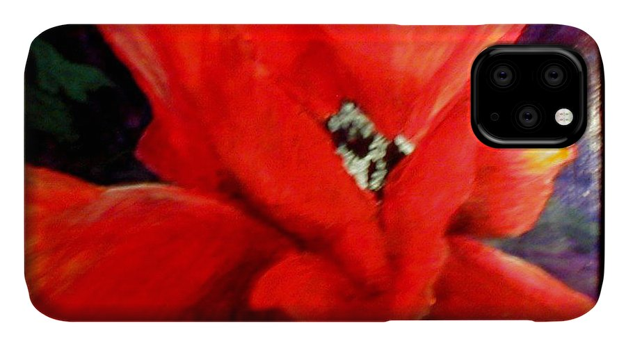 Floral IPhone Case featuring the painting She Wore Red Ruffles by Gail Kirtz