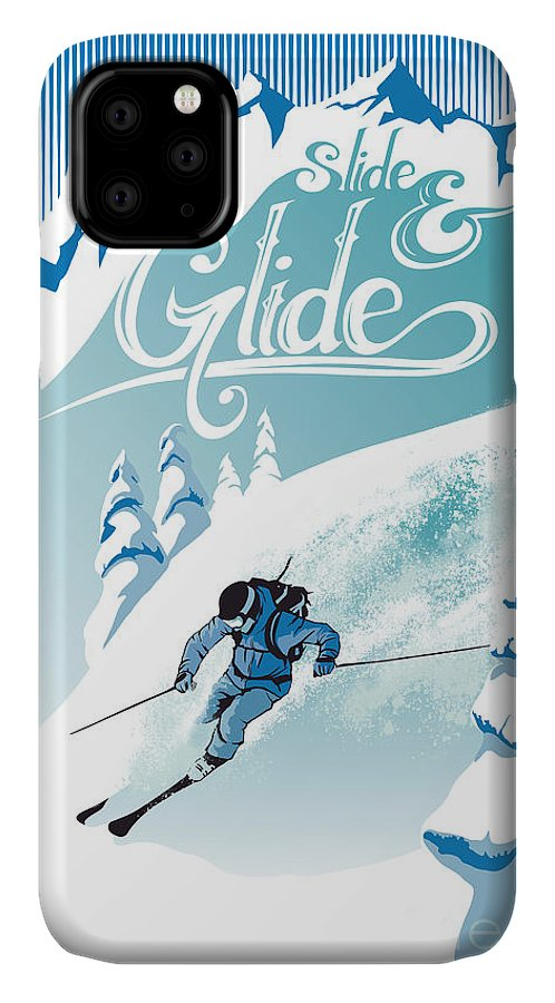 Ski IPhone 11 Case featuring the painting Slide And Glide Retro Ski Poster by Sassan Filsoof