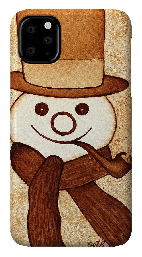 Abstract Snowman IPhone Case featuring the painting Snowman With Pipe And Topper Original Coffee Painting by Georgeta Blanaru