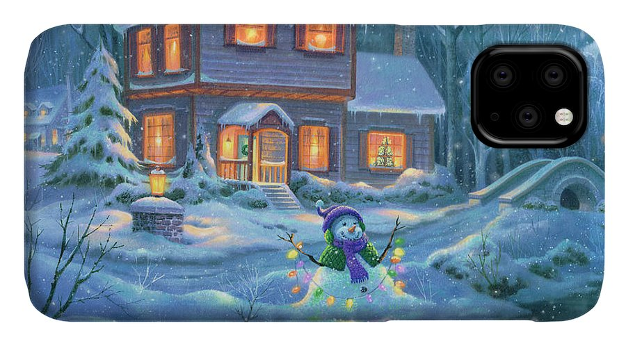 Michael Humphries IPhone 11 Case featuring the painting Snowy Bright Night by Michael Humphries