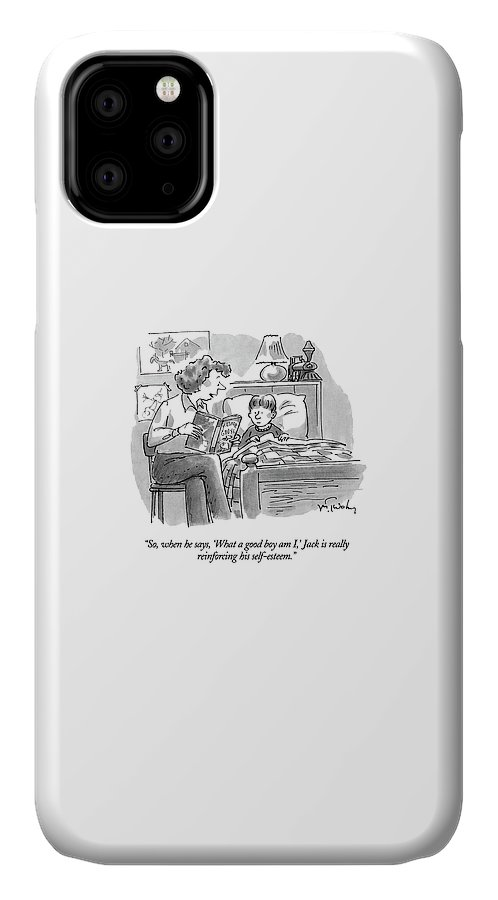 (mother Reading Mother Goose To Young Son) Parents IPhone Case featuring the drawing So, When He Says, 'what A Good Boy Am I,' Jack by Mike Twohy