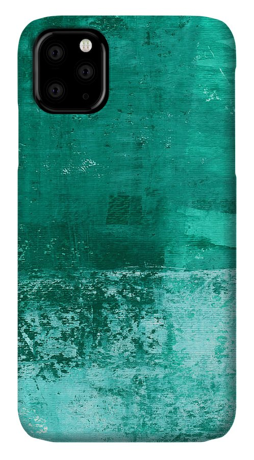 Abstract Art IPhone 11 Case featuring the painting Soothing Sea - Abstract Painting by Linda Woods