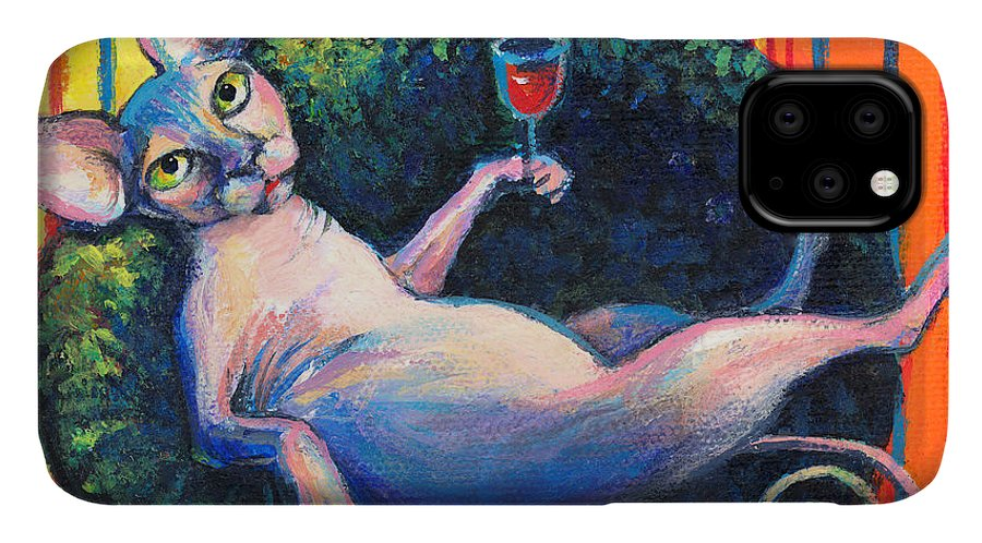 Sphynx Cat IPhone Case featuring the painting Sphynx cat relaxing by Svetlana Novikova