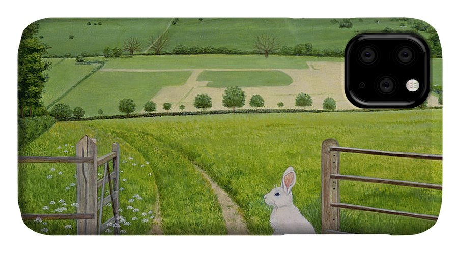 Fence IPhone 11 Case featuring the painting Spring Rabbit by Ditz