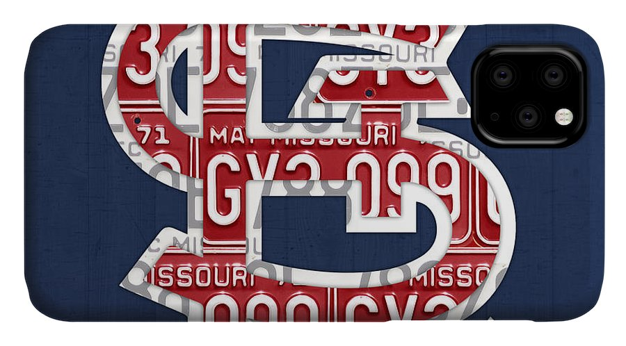 St IPhone 11 Case featuring the mixed media St. Louis Cardinals Baseball Vintage Logo License Plate Art by Design Turnpike