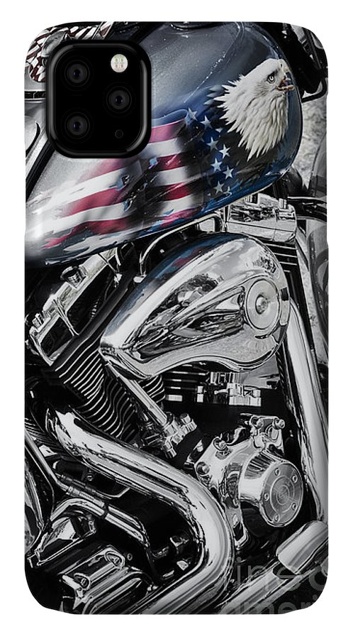 Harley Davidson IPhone 11 Case featuring the photograph Stars And Stripes Harley by Tim Gainey