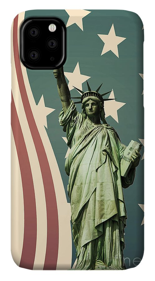 America IPhone 11 Case featuring the photograph Statue Of Liberty by Juli Scalzi