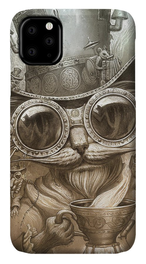 Steampunk IPhone Case featuring the painting Steampunk Cat by Jeff Haynie