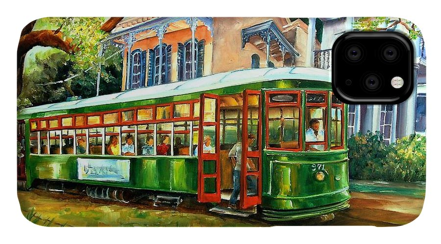 New Orleans IPhone 11 Case featuring the painting Streetcar On St.charles Avenue by Diane Millsap