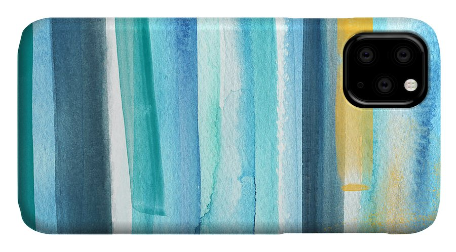 Water IPhone 11 Case featuring the painting Summer Surf- Abstract Painting by Linda Woods