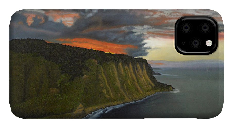 Waipio Lookout IPhone Case featuring the painting Sunset In Paradise by Thu Nguyen