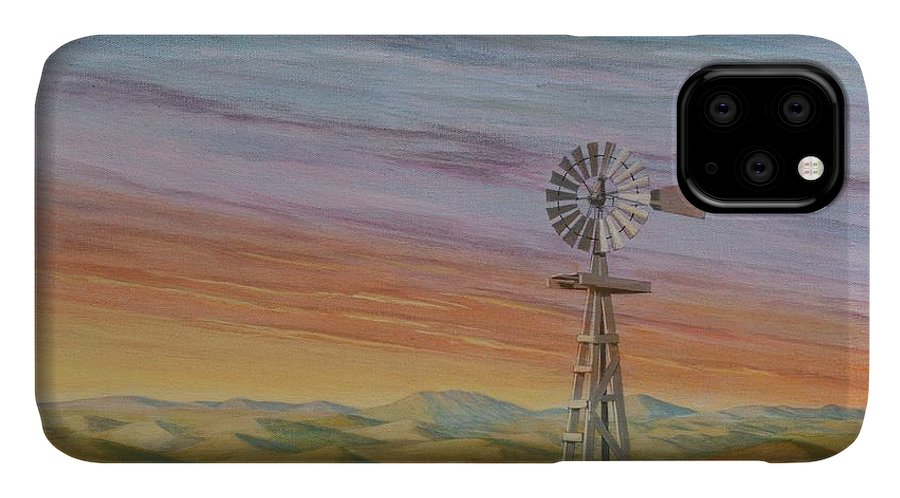 High Plains IPhone Case featuring the painting Windmill Sunset by J W Kelly