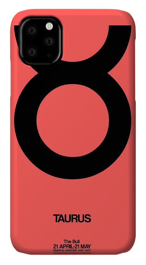 Taurus IPhone 11 Case featuring the digital art Taurus Zodiac Sign Black by Naxart Studio