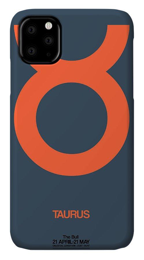 Taurus IPhone 11 Case featuring the digital art Taurus Zodiac Sign Orange by Naxart Studio