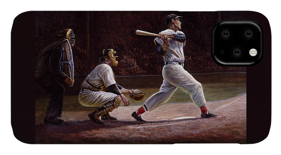 Gregory Perillo IPhone Case featuring the painting Ted Williams At Bat by Gregory Perillo
