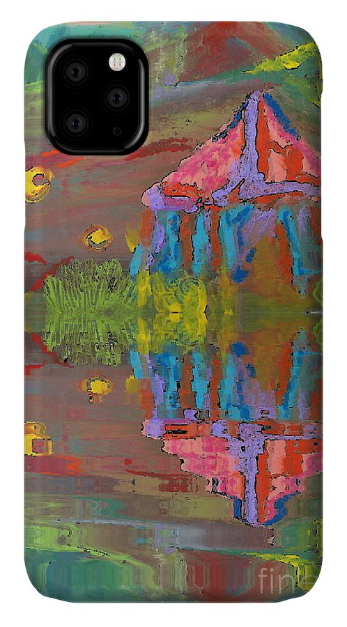 Deborah Montana IPhone 11 Case featuring the painting Tent Reflections by Deborah Montana