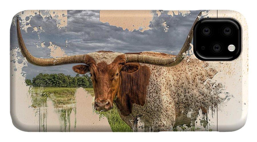 Texas Longhorn IPhone Case featuring the digital art Texas Longhorn by Ray Keeling