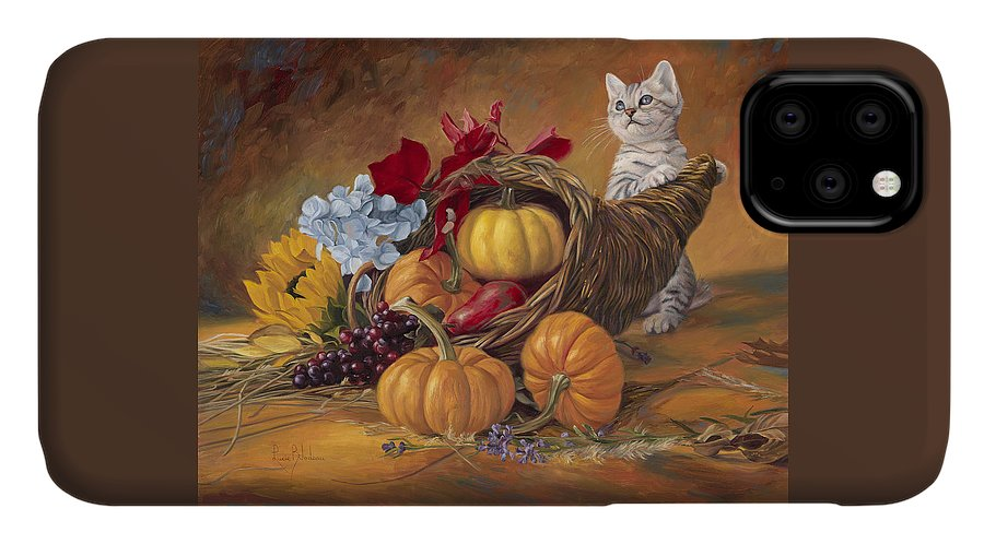 Cat IPhone Case featuring the painting Thankful by Lucie Bilodeau