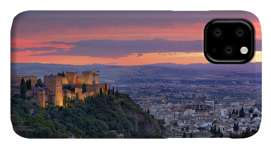 The Alhambra IPhone Case featuring the photograph The Alhambra And Granada City At Sunset by Guido Montanes Castillo
