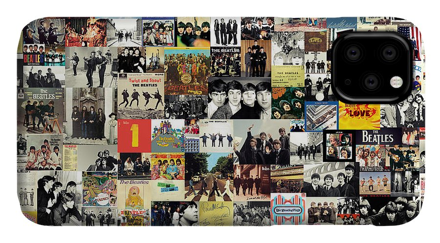 The Beatles IPhone Case featuring the digital art The Beatles Collage by Zapista OU