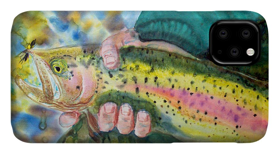 Fly Fishing Artwork IPhone Case featuring the painting The Catch by Anderson R Moore
