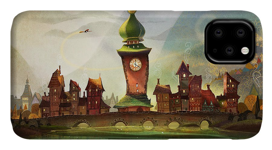 Clock Tower IPhone Case featuring the painting The Clock Tower by Kristina Vardazaryan
