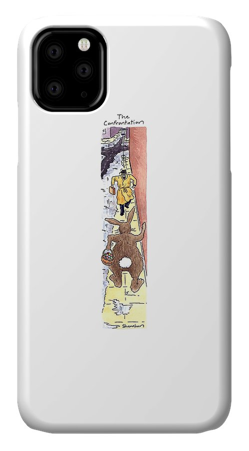 The Confrontation  (easter Bunny And Business Man Walking Determinedly Towards Each Other On A Rainy Sidewalk) Nature IPhone Case featuring the drawing The Confrontation by Danny Shanahan