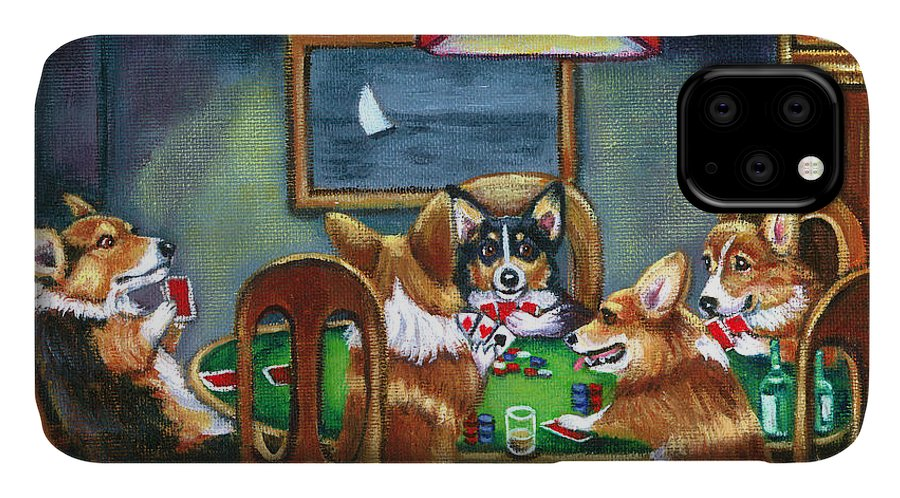 Pembroke Welsh Corgi IPhone 11 Case featuring the painting The Corgi Poker Game by Lyn Cook