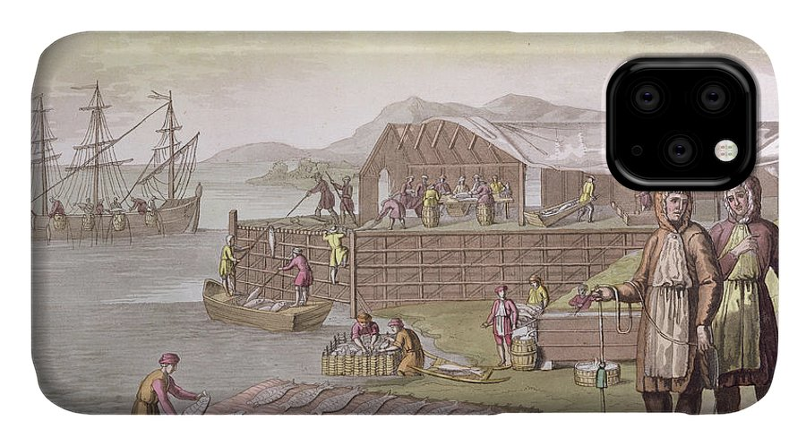 Giulio IPhone 11 Case featuring the drawing The Fishing Industry In Newfoundland by G Bramati