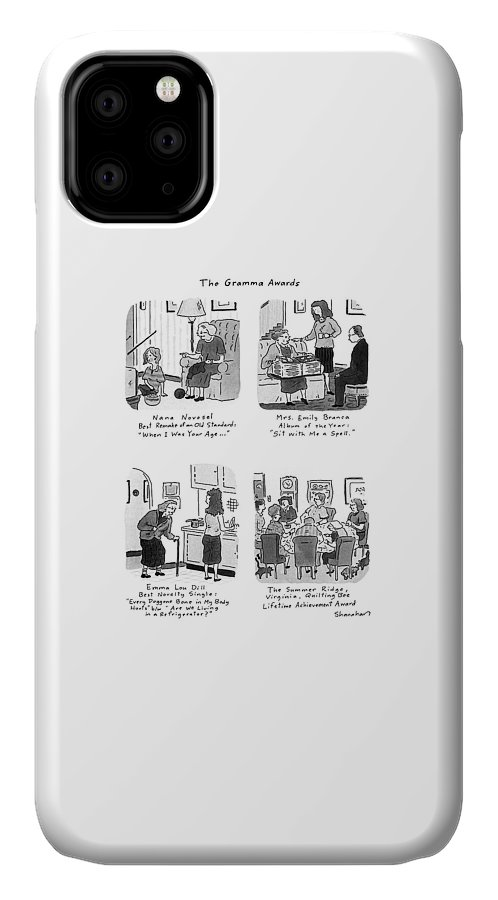 The Gramma Awards: Title. Spread Showing Four Winning Grandmothers: Nana Novosel/ Best Remake Of An Old Standard: IPhone Case featuring the drawing The Gramma Awards by Danny Shanahan