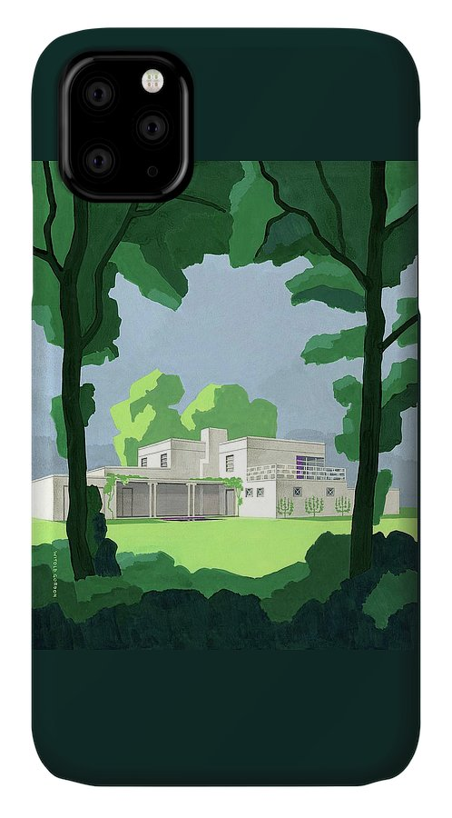 Architecture IPhone Case featuring the digital art The Ideal House In House And Gardens by Witold Gordon