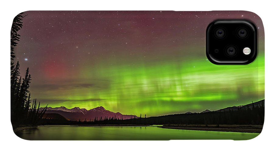 Alberta IPhone Case featuring the photograph The Northern Lights Over The Athabasca by Alan Dyer