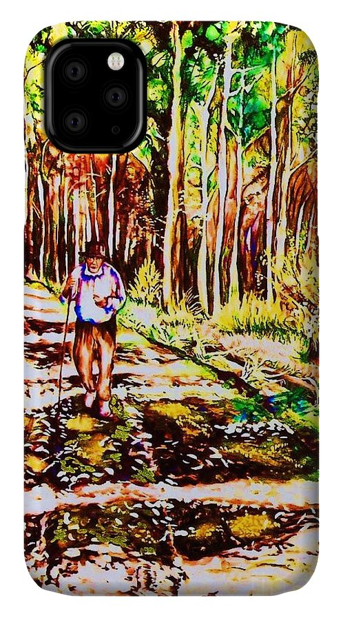 The Road Not Taken Robert Frost Poem IPhone Case featuring the painting The Road Not Taken by Carole Spandau