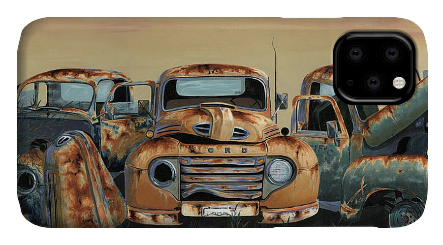 Truck IPhone 11 Case featuring the painting Three Amigos by John Wyckoff