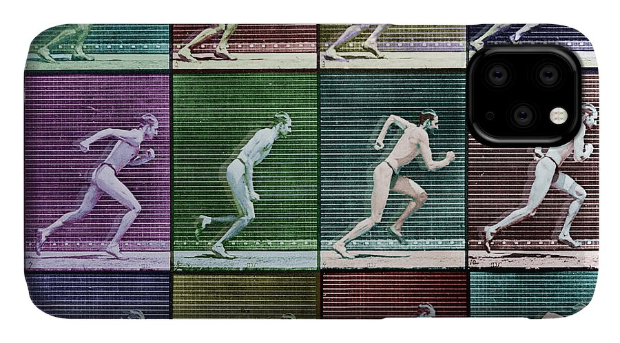 Man IPhone Case featuring the painting Time Lapse Motion Study Man Running Color by Tony Rubino