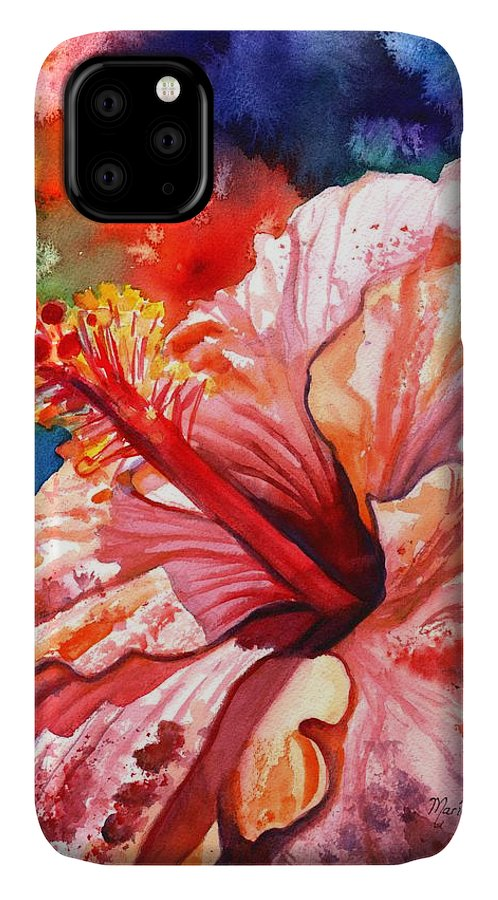 Pink Hibiscus IPhone Case featuring the painting Tropical Pink Hibiscus by Marionette Taboniar