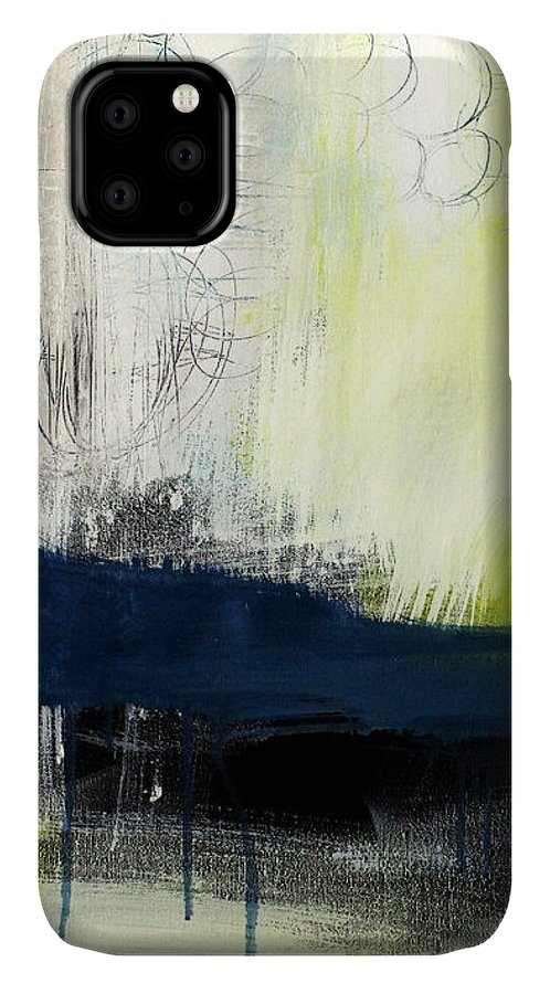 Blue Abstract Painting IPhone Case featuring the painting Turning Point - Contemporary Abstract Painting by Linda Woods