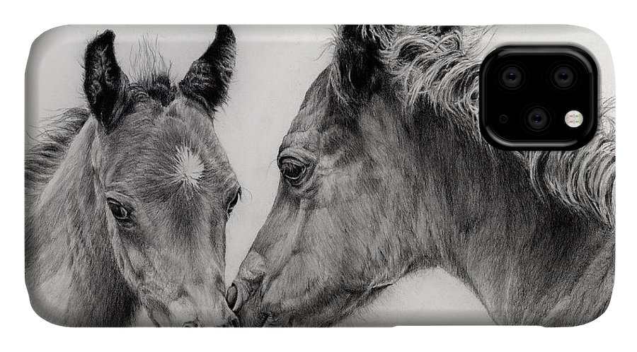 Arab Foal IPhone Case featuring the drawing Two Foals by Hailey E Herrera