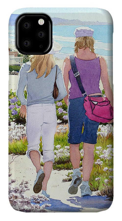 Landscape IPhone Case featuring the painting Two Girls At Dog Beach Del Mar by Mary Helmreich