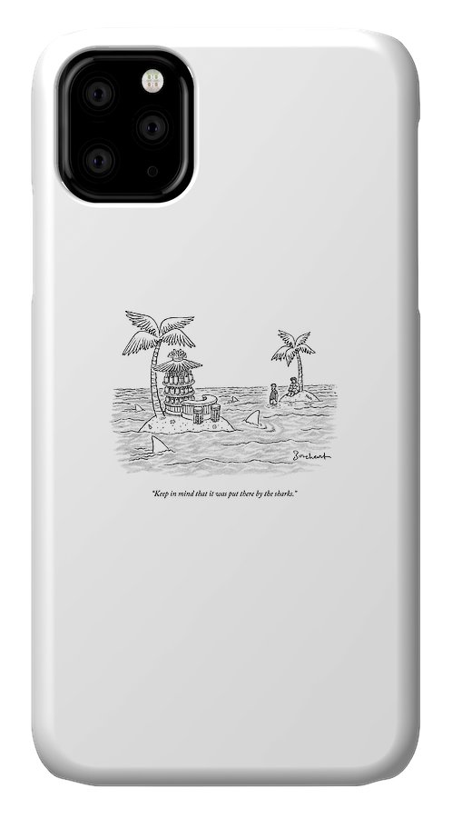 Sharks IPhone Case featuring the drawing Two Men Stand On A Desert Island by David Borchart
