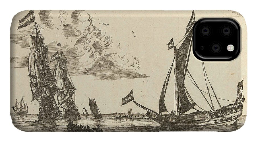 Sailing-ship IPhone 11 Case featuring the drawing Two Warships And A Yacht, Reinier Nooms by Reinier Nooms